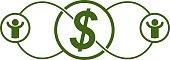 The Global Financial System conceptual logo, unique vector symbol