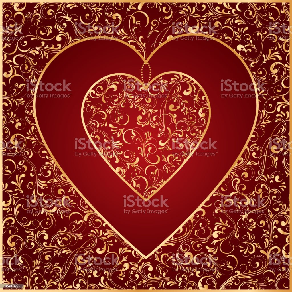 The Gold Heart from ornate elements royalty-free stock vector art