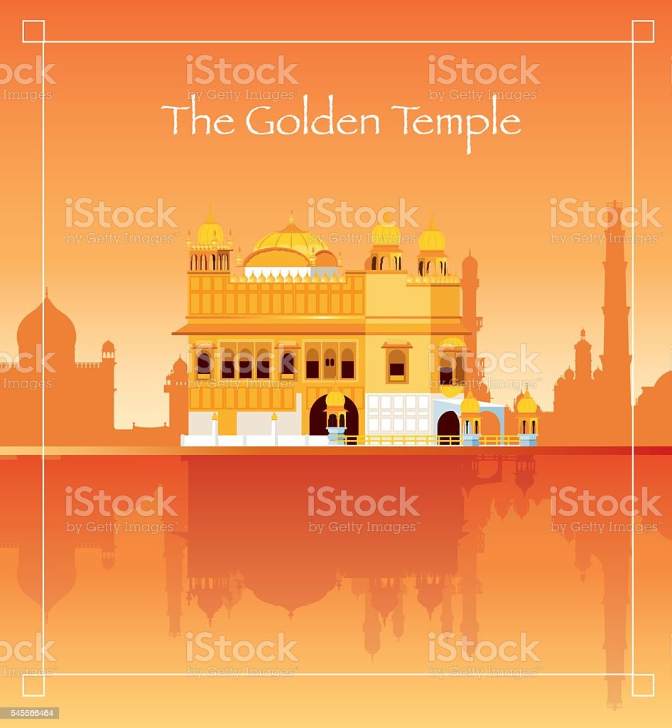 The Golden Temple vector art illustration