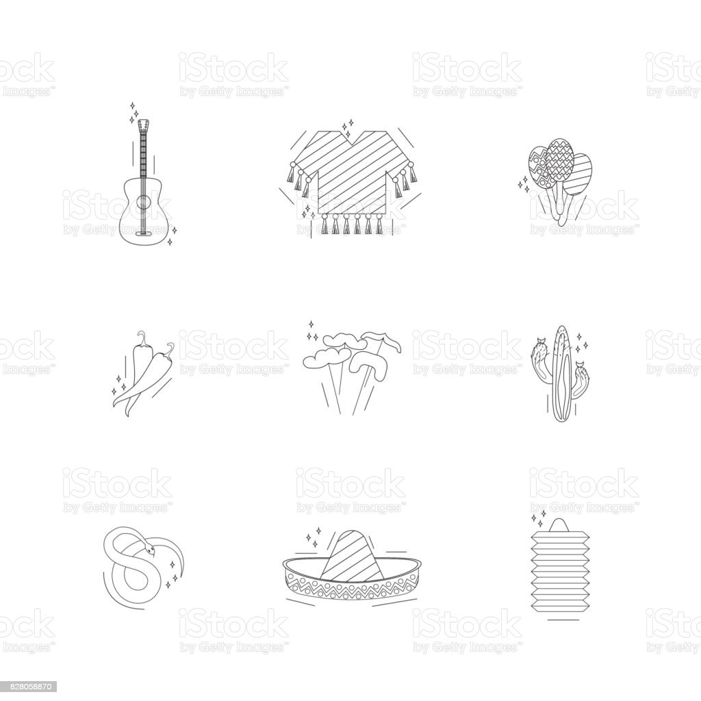 The goods for the Mexican party or Mexico icons vector art illustration
