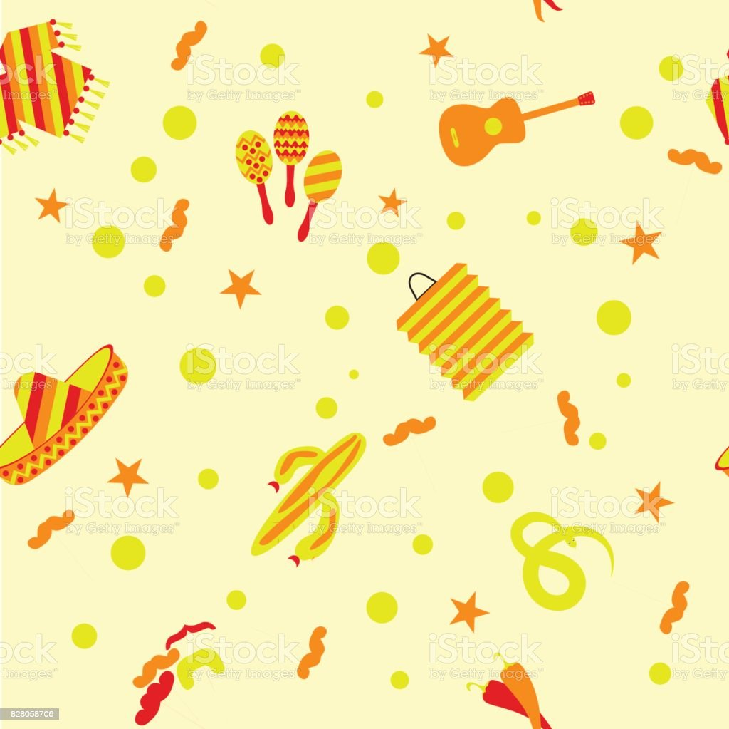 The goods for the Mexican party pattern vector art illustration