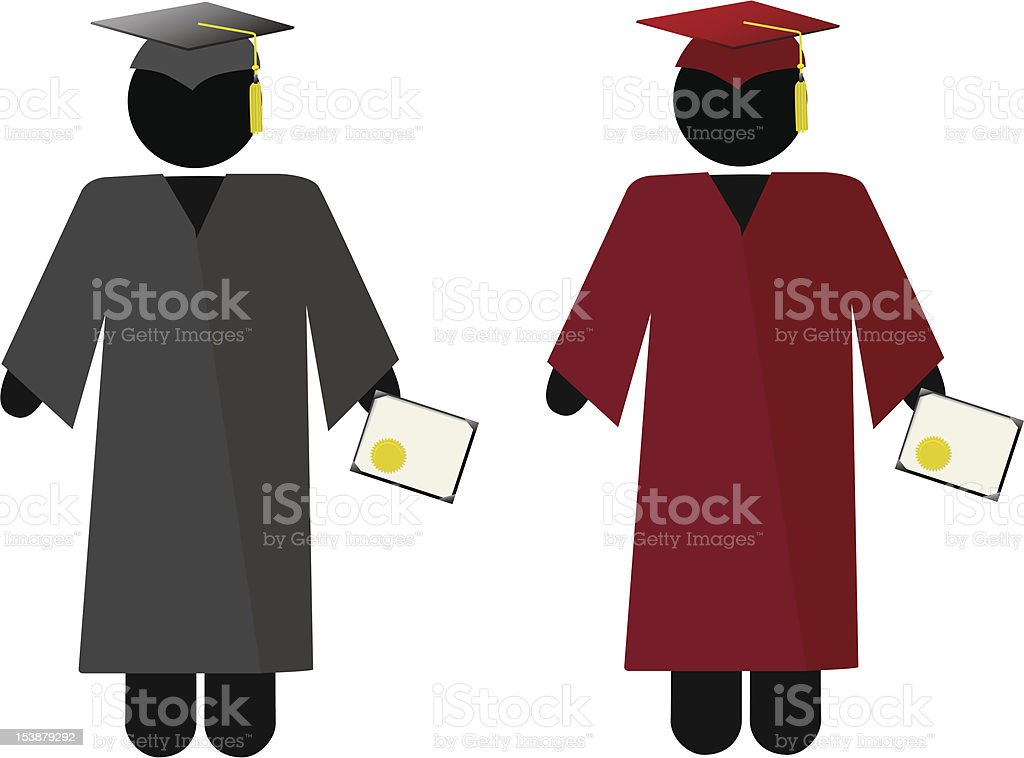 The Graduate - Symbol People Graduation Cap & Gown royalty-free stock vector art