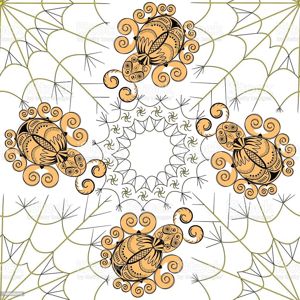 The graphic pattern of gold spiders on the web royalty-free stock vector art