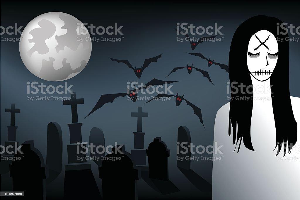 the graveyard princess royalty-free stock vector art