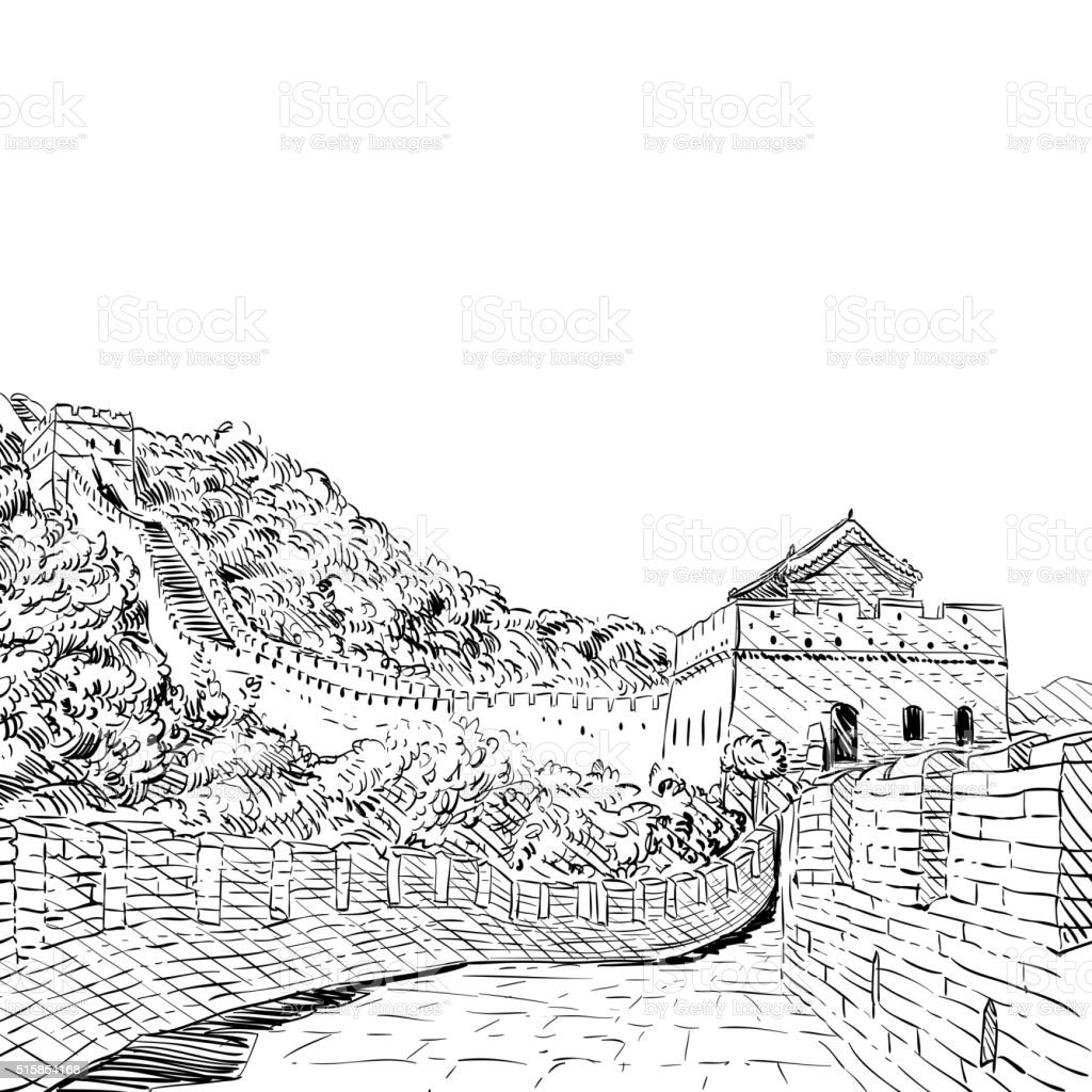 The Great Wall of China sketch hand drawn. Vector illustration vector art illustration