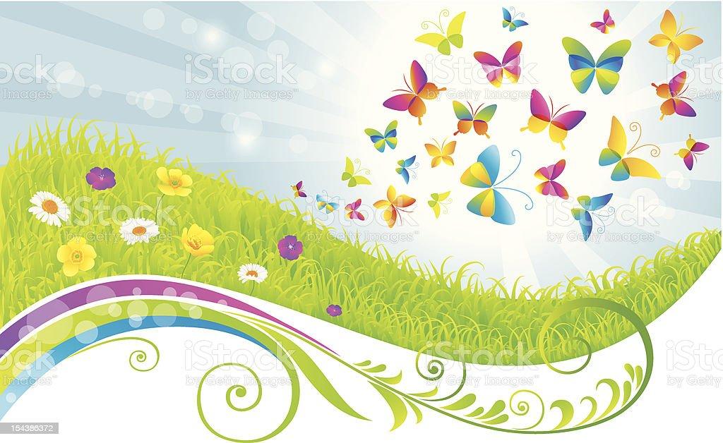 The green field and butterflies. vector art illustration