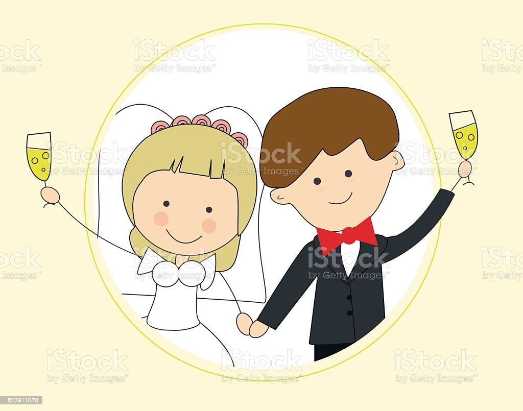 The groom and the bride with glasses. Frame circle vector art illustration