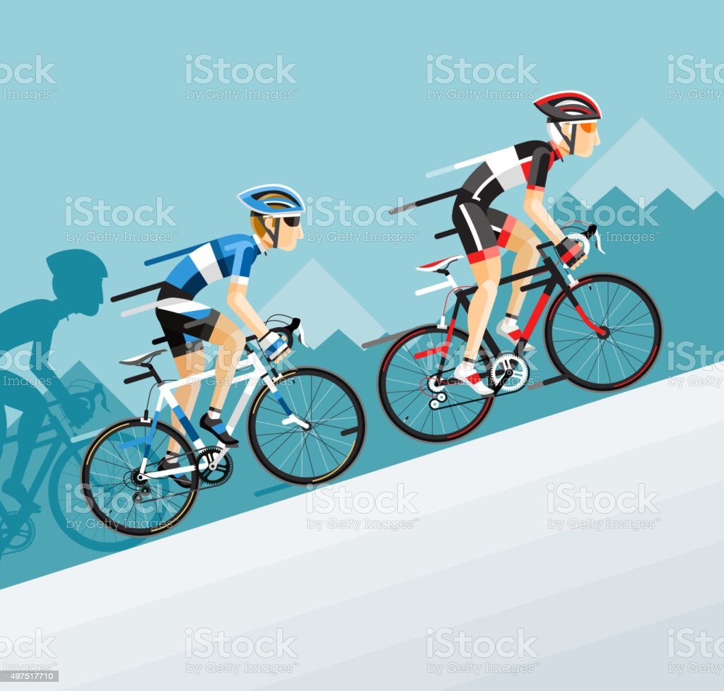 The Group of Cyclists Man in Road Bicycle. vector art illustration