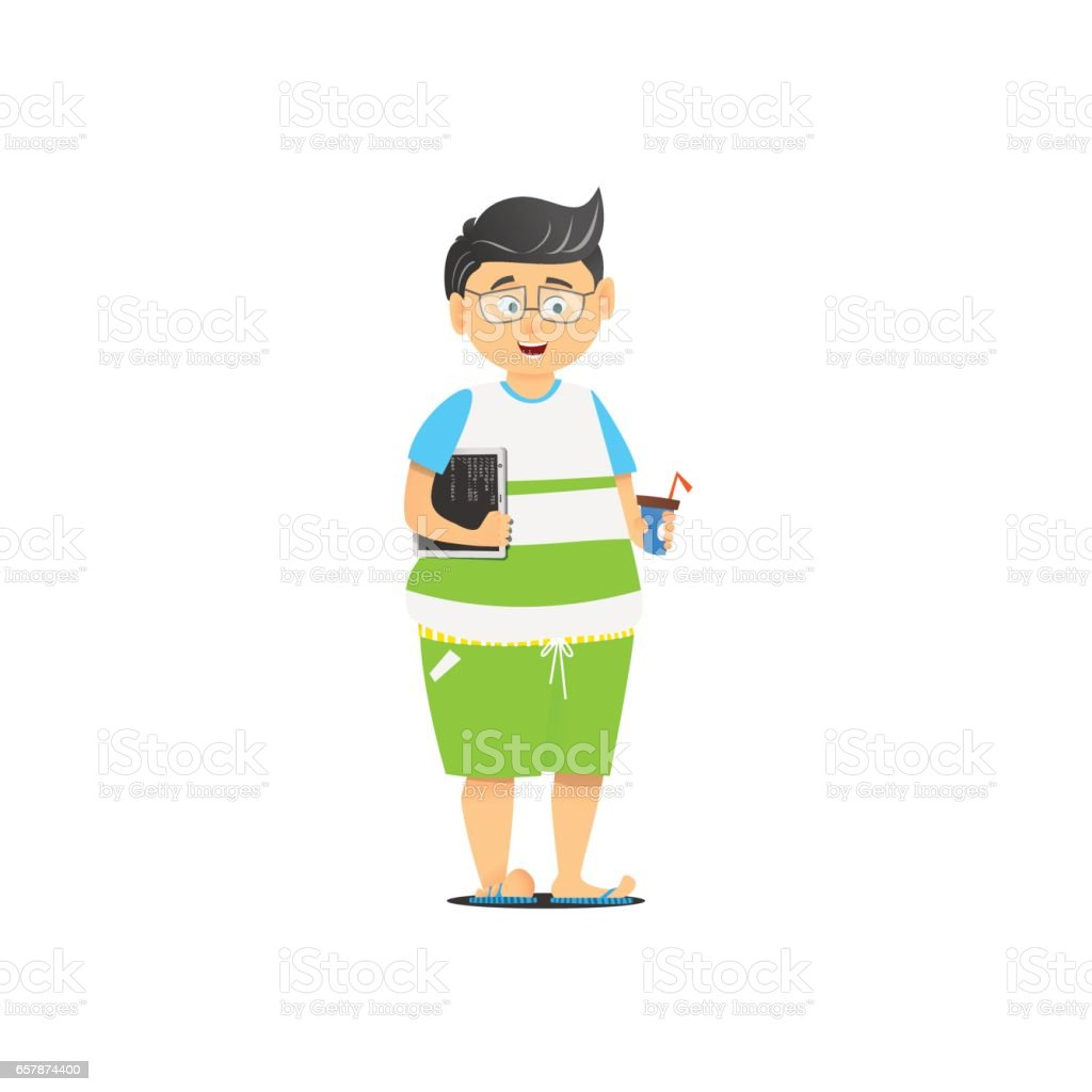The guy in the shorts. vector art illustration