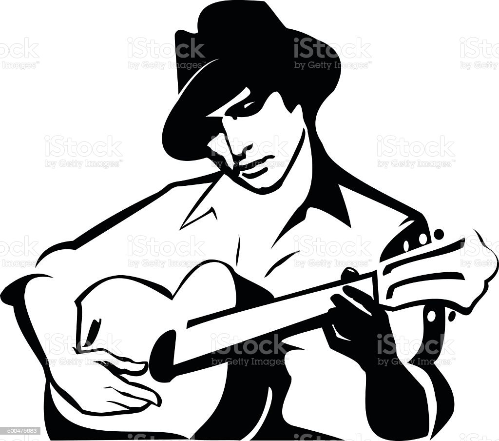 the guy playing a guitar vector art illustration