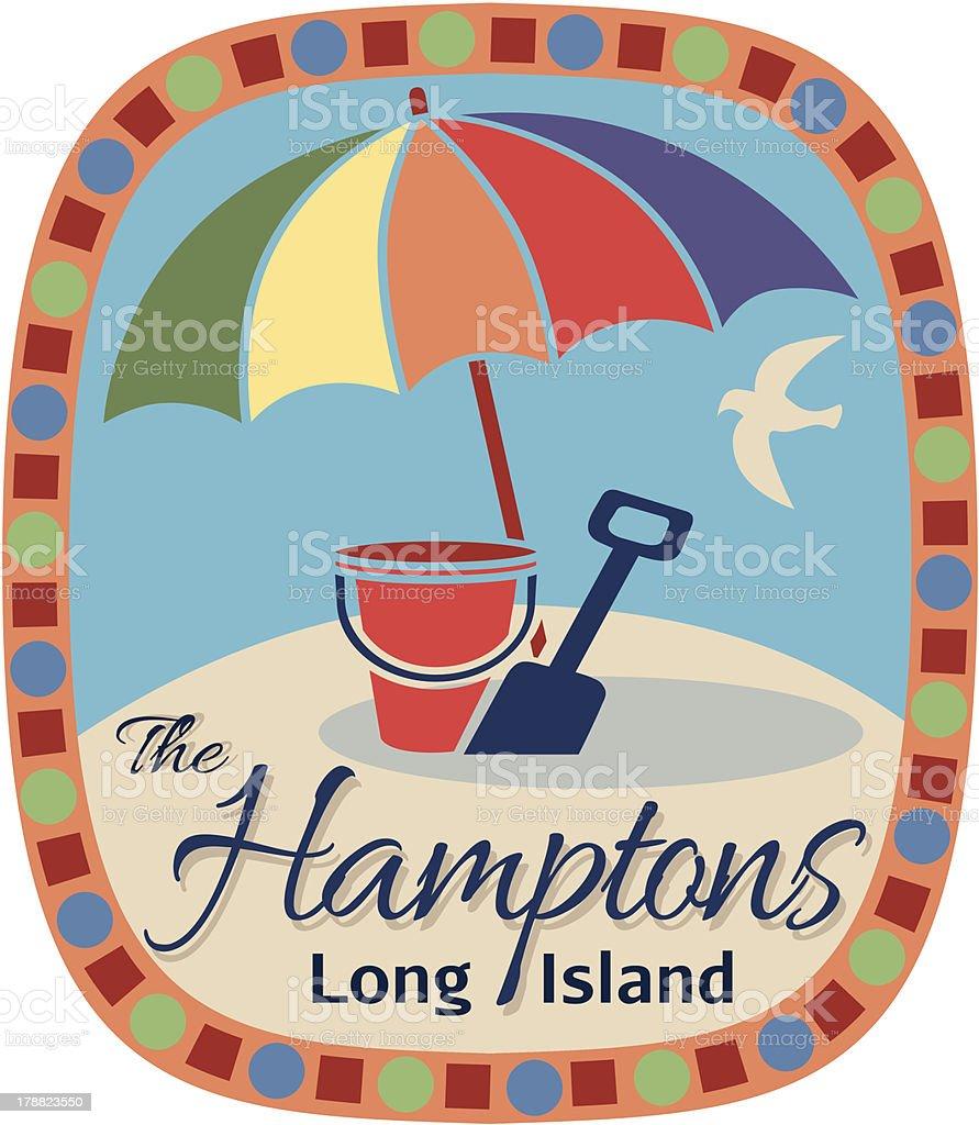 The Hamptons travel sticker or luggage label vector art illustration