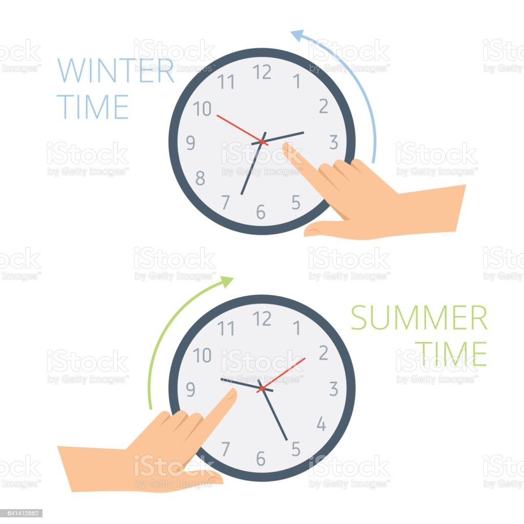 The hand change time on the clock to wintertime, summertime. vector art illustration