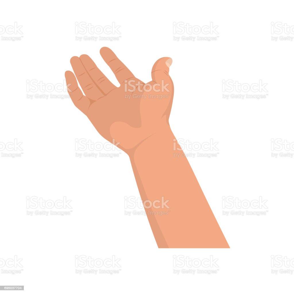 The hand extended forward vector art illustration