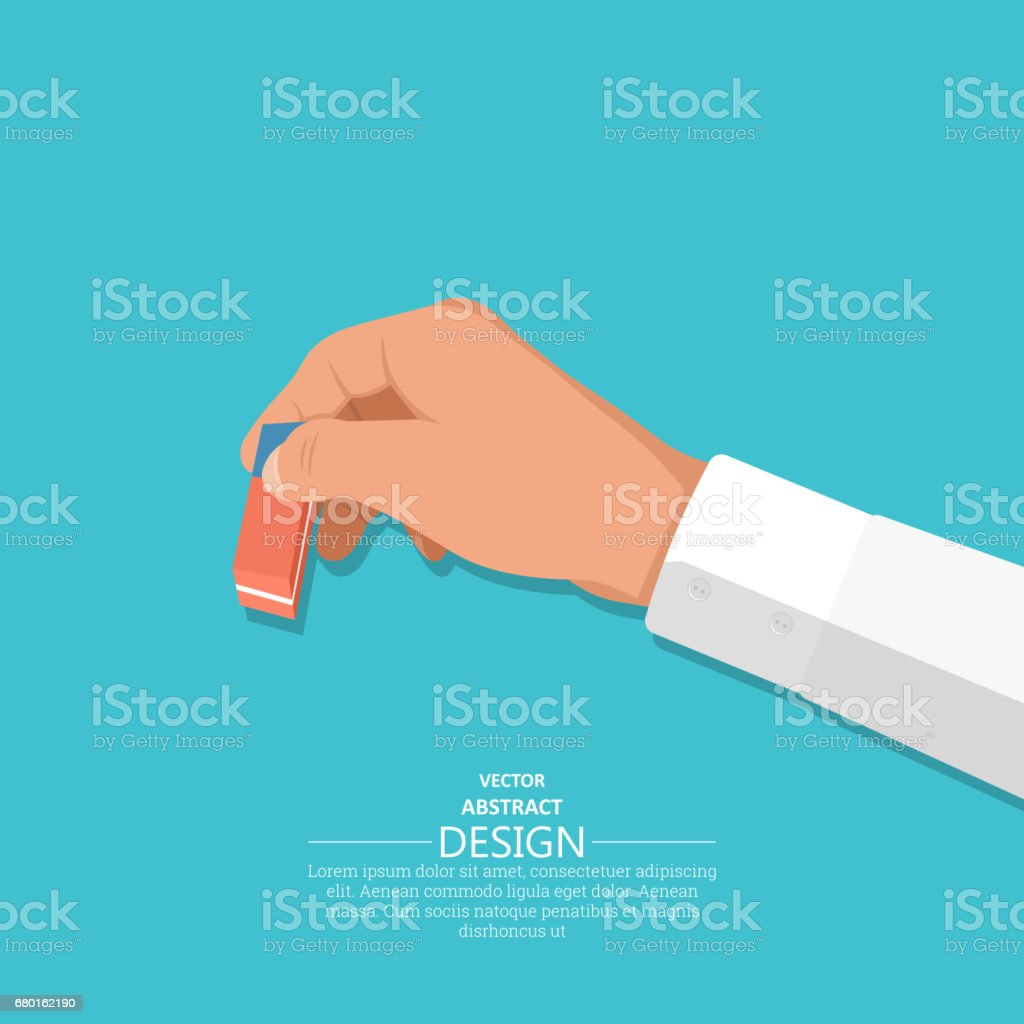 The hand holds an eraser vector art illustration