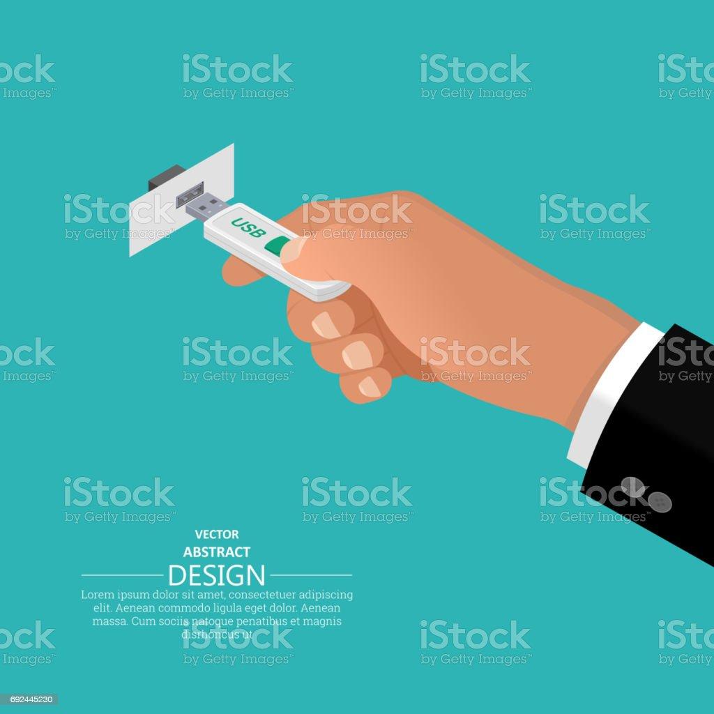 The hand holds USB flash memory vector art illustration