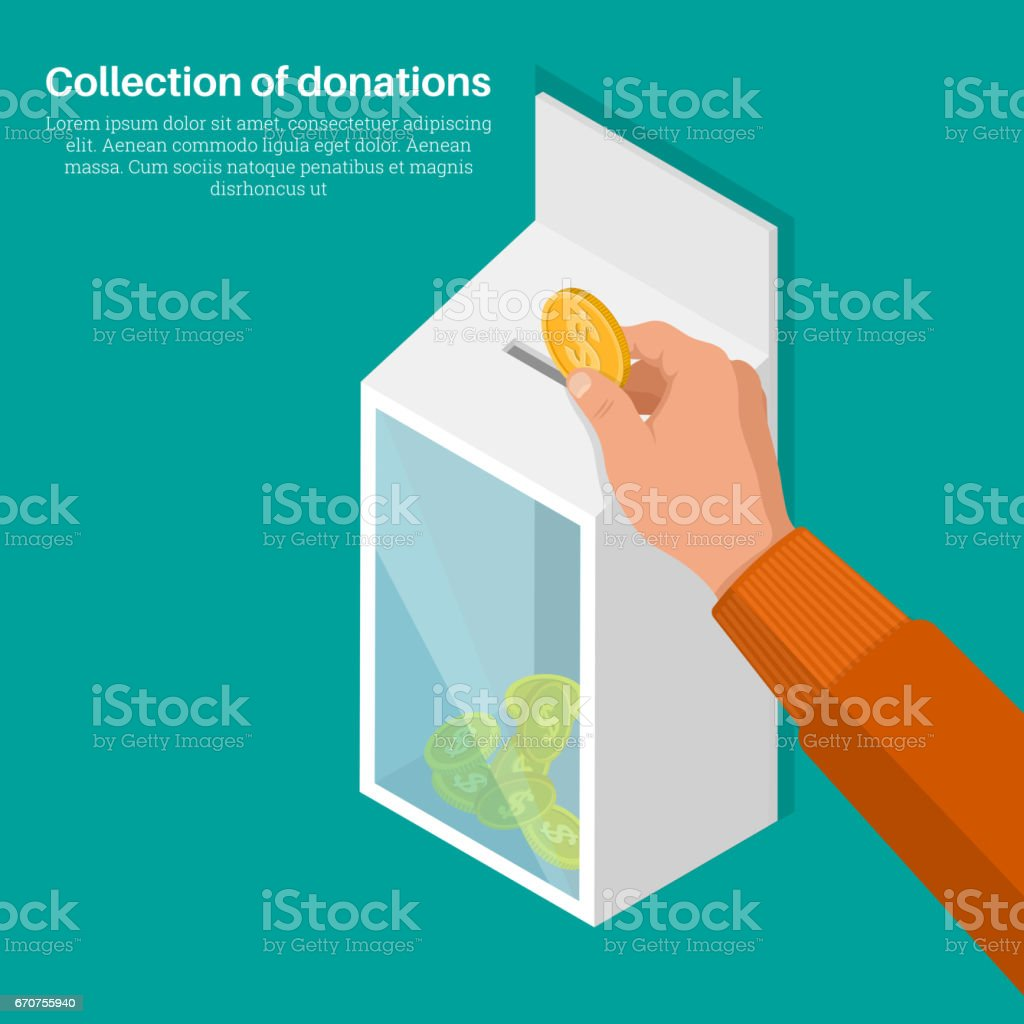 The hand lowers a coin vector art illustration