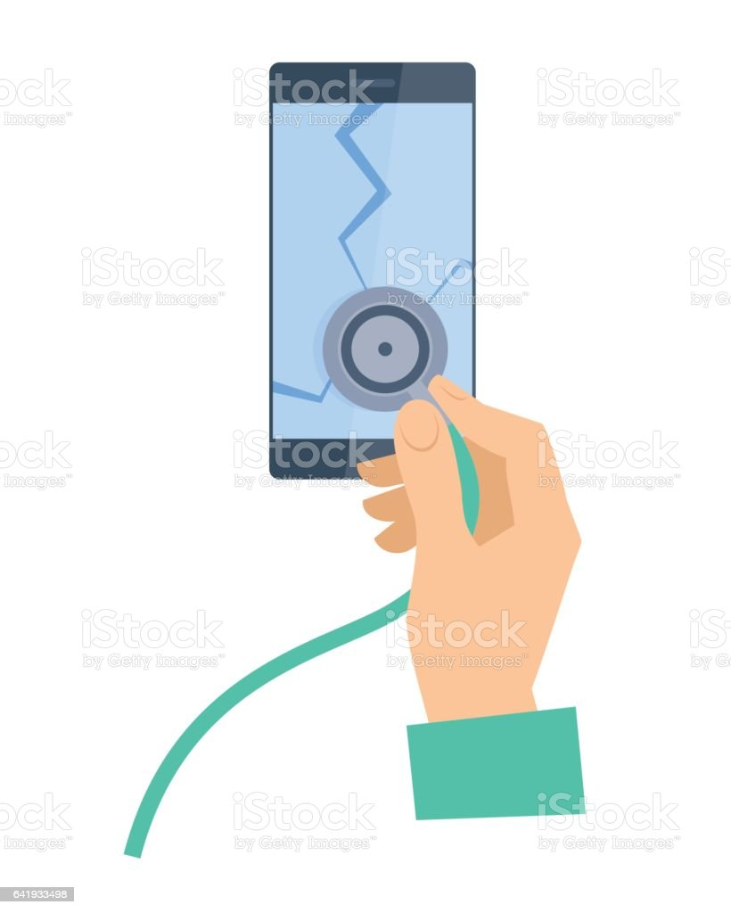 The hand with stethoscope examing broken smartphone. Phone repair concept. vector art illustration