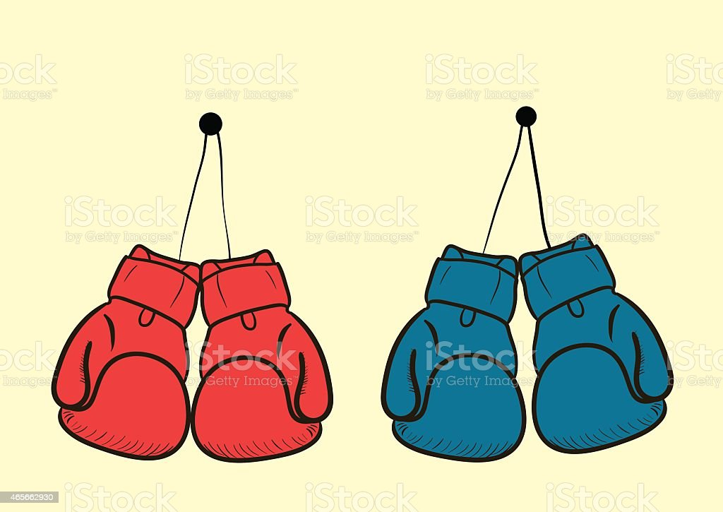 The hanging gloves vector art illustration