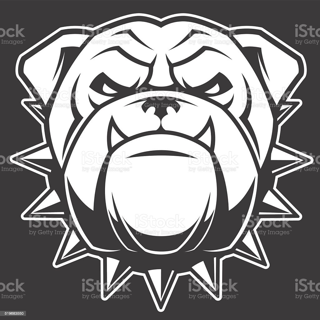 The head of a fierce bulldog vector art illustration