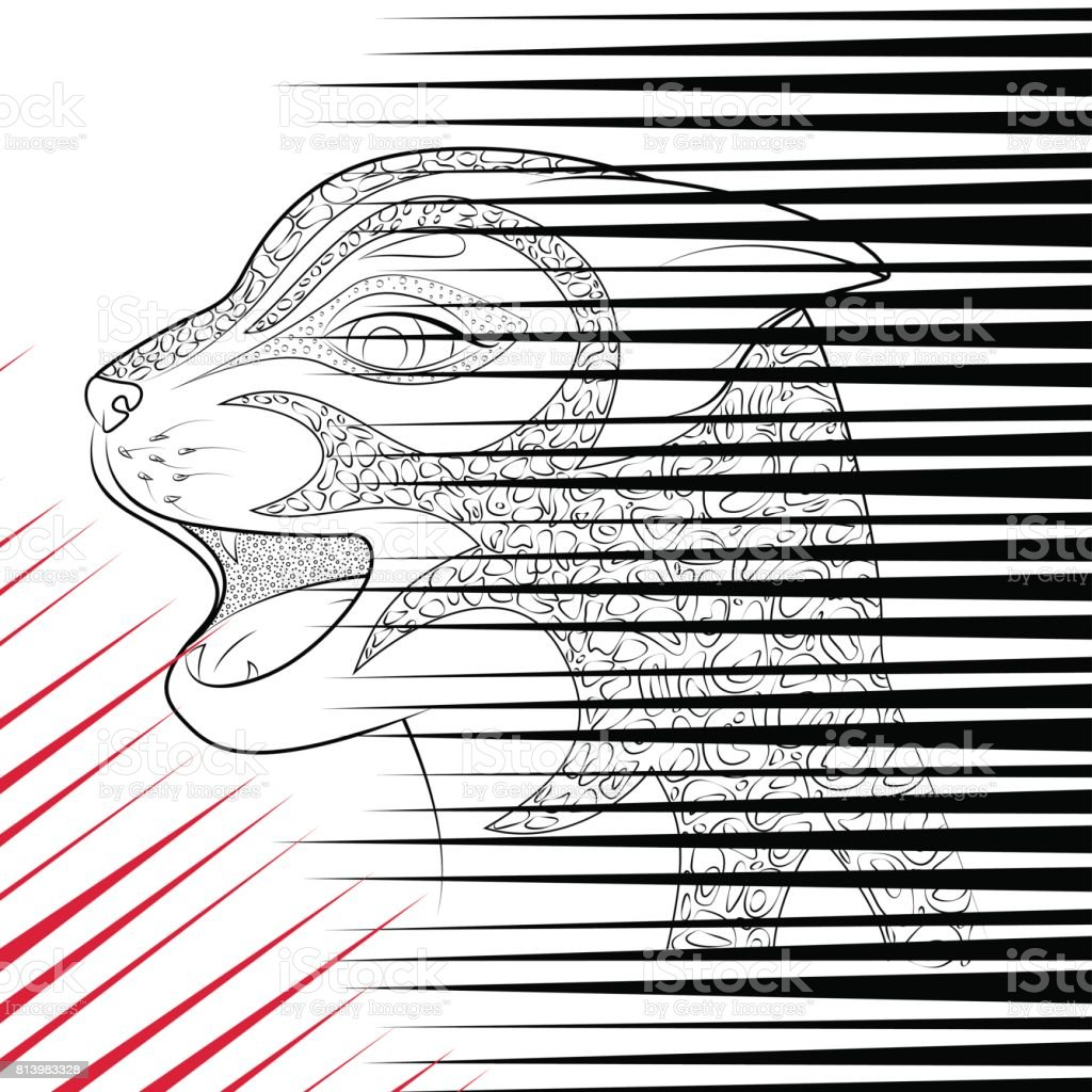 The head of a wild cat. doodle black and red scratch from animal claws. vector art illustration