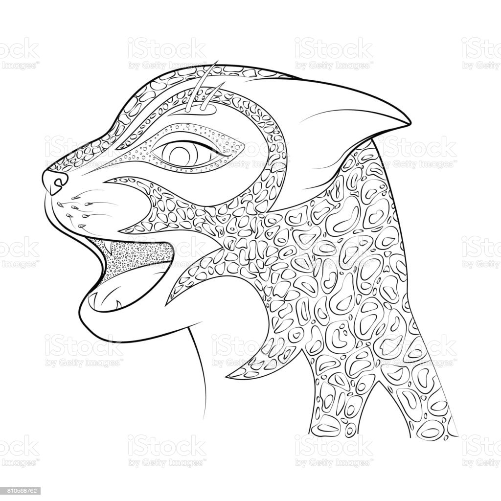 The head of a wild cat.Cheetah. Coloring book for adults. vector art illustration