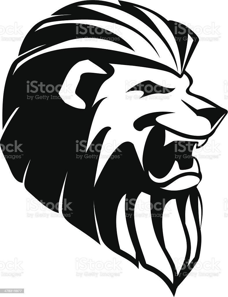 The head of roaring lion - tatoo royalty-free stock vector art
