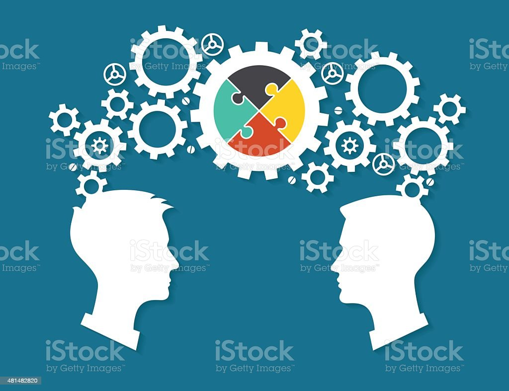 The heads of two people with gears and puzzles vector art illustration