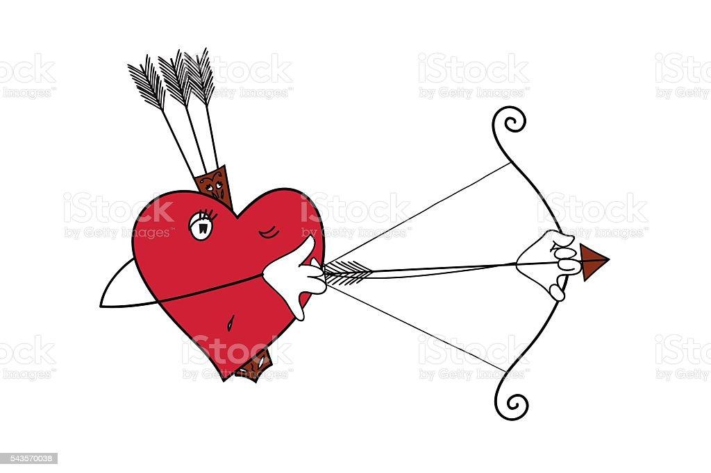 the heart of the hunter. heart vector illustration vector art illustration