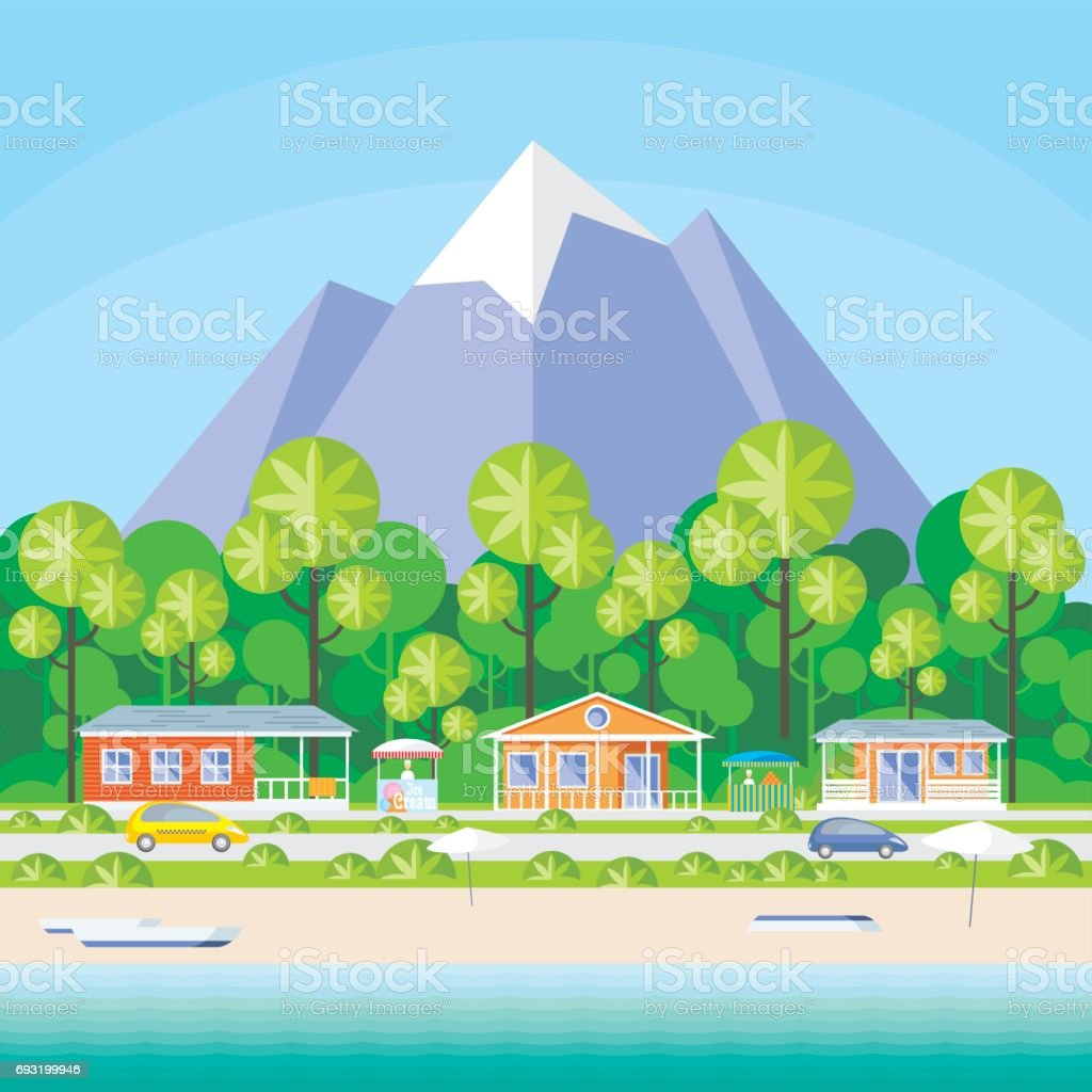 the holiday village vector art illustration