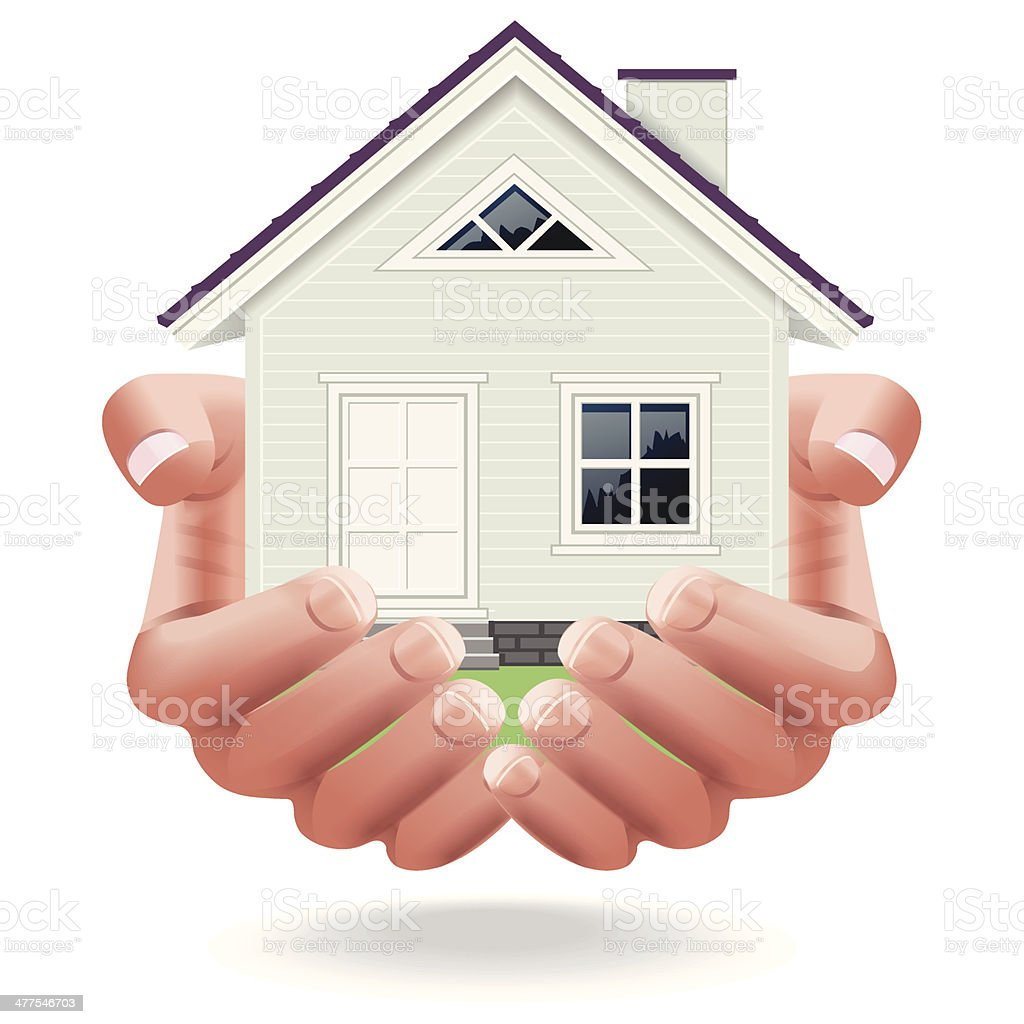 The house in human hands vector art illustration