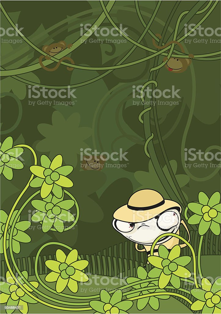 the hunter in jungle royalty-free stock vector art