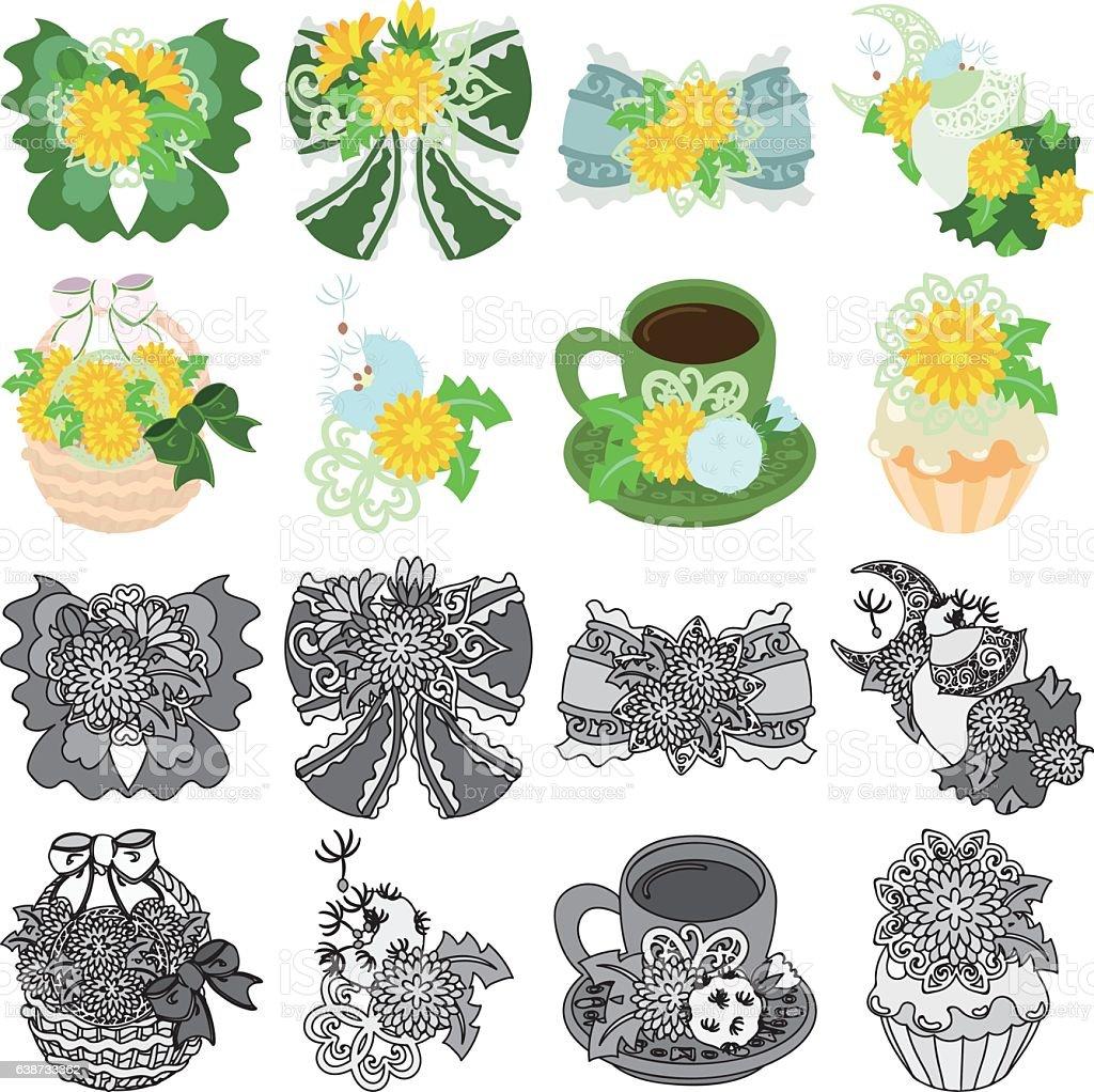 The icons of dandelion object vector art illustration