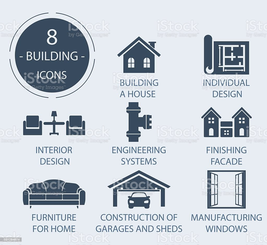 The icons on the theme - Construction of the house vector art illustration