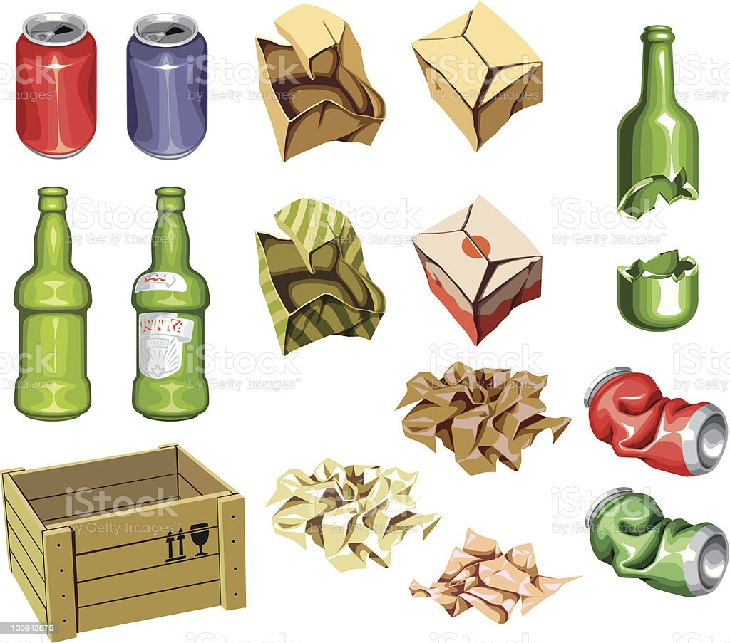 The icons set: Package and Trash vector art illustration