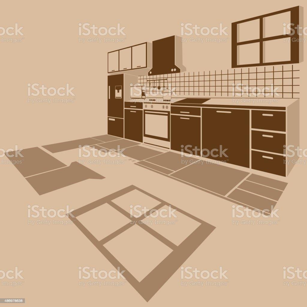 The interior kitchen three dimensional vector art illustration