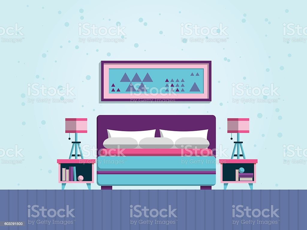 the interior of bedroom vector art illustration
