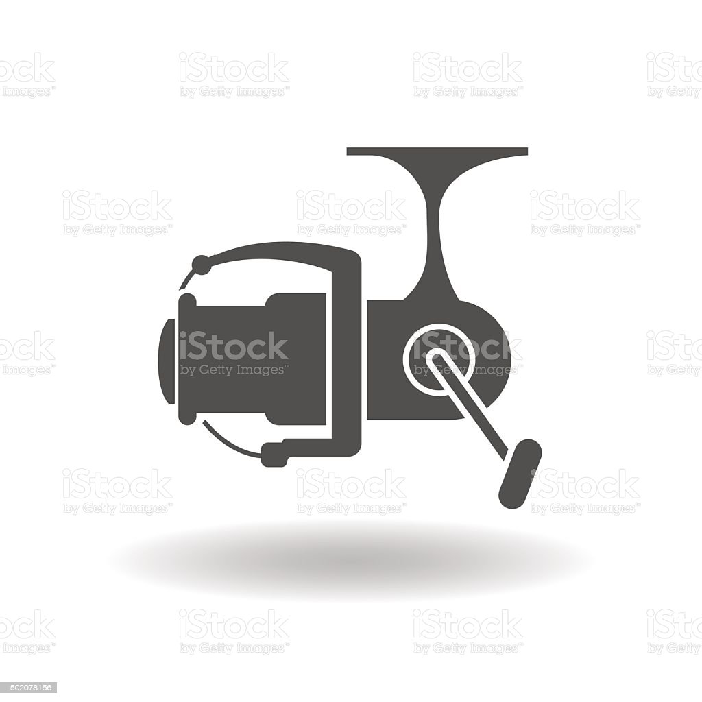 The isolated silhouettes of fishing reels spinning vector art illustration