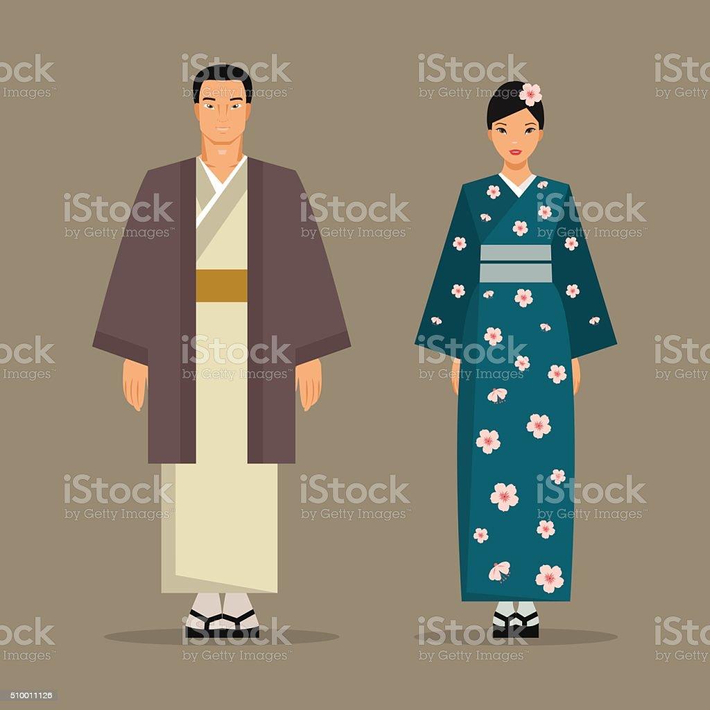 The Japanese national costume. Vector illustration vector art illustration