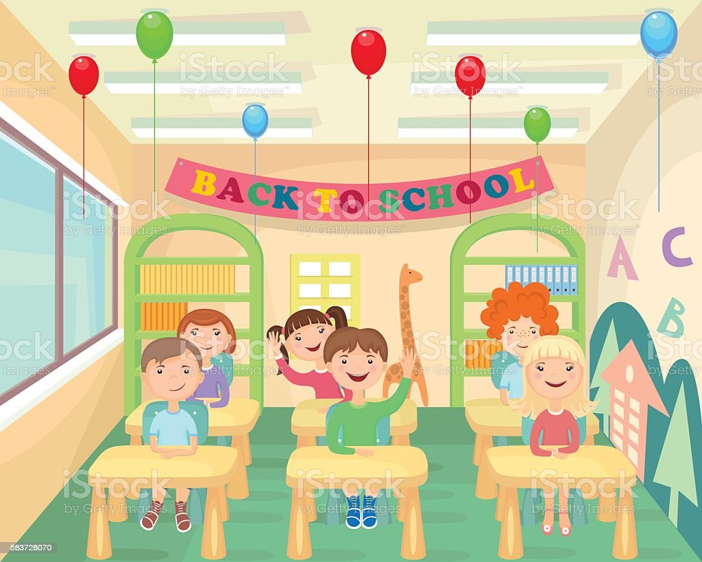 The kids at school. The students in the class. Back To School. vector art illustration