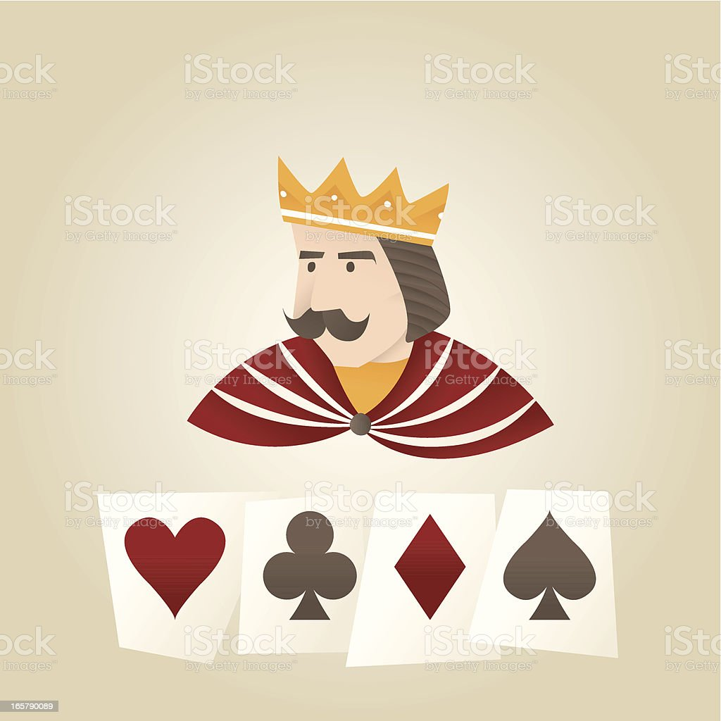 The King And His Favourite Cards vector art illustration