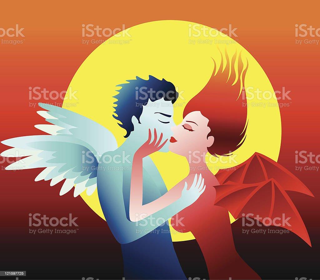 the kiss vector art illustration