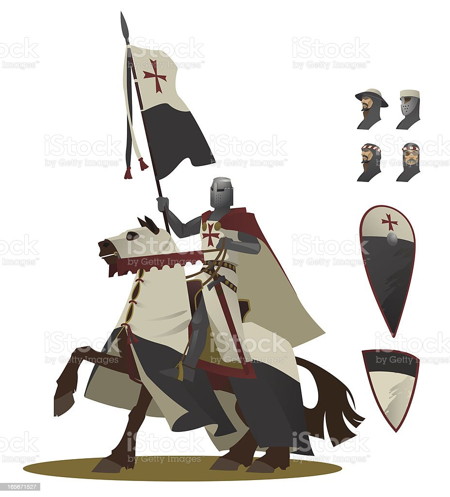 The Knight Templar on a horse illustration vector art illustration