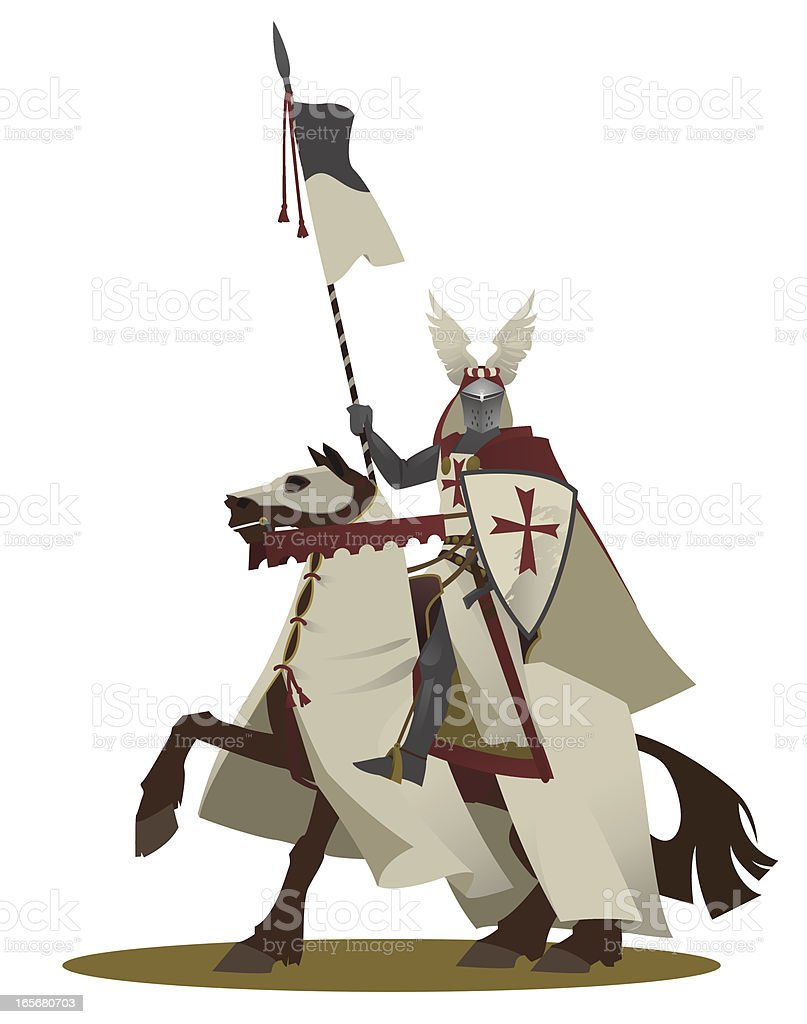 The knight templar on a horse vector art illustration