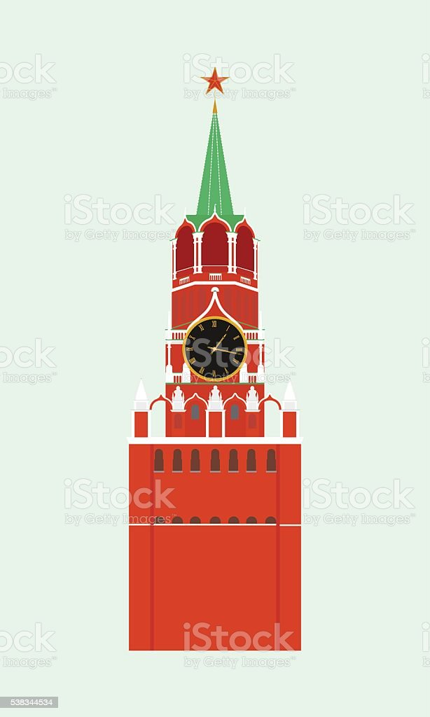 The Kremlin tower with clock in Moscow. vector art illustration
