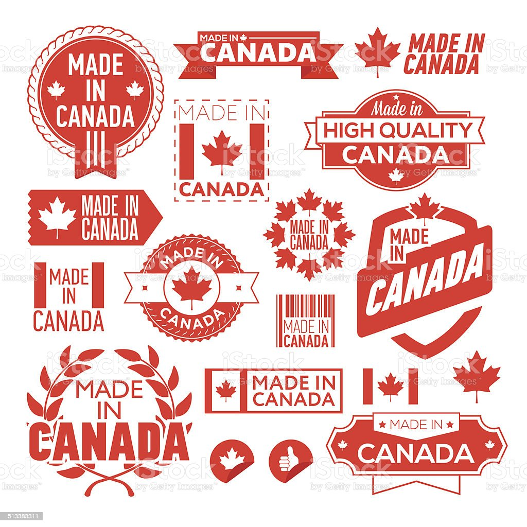 The label made ​​in Canada vector art illustration