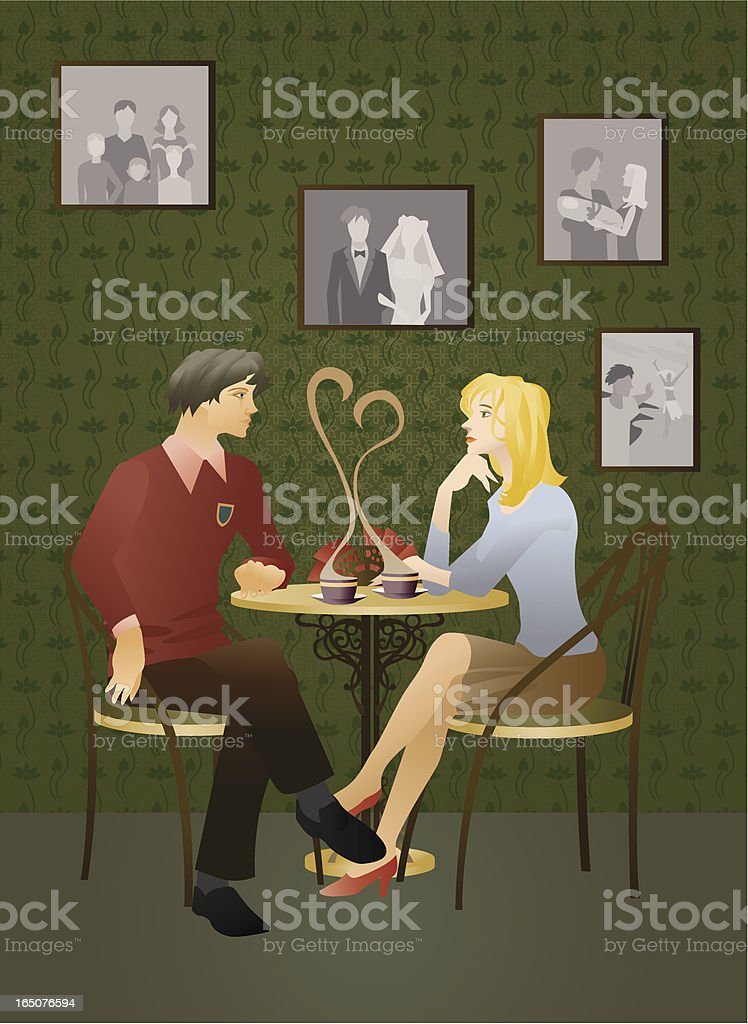 The Lad and girl repose in cafe. vector art illustration