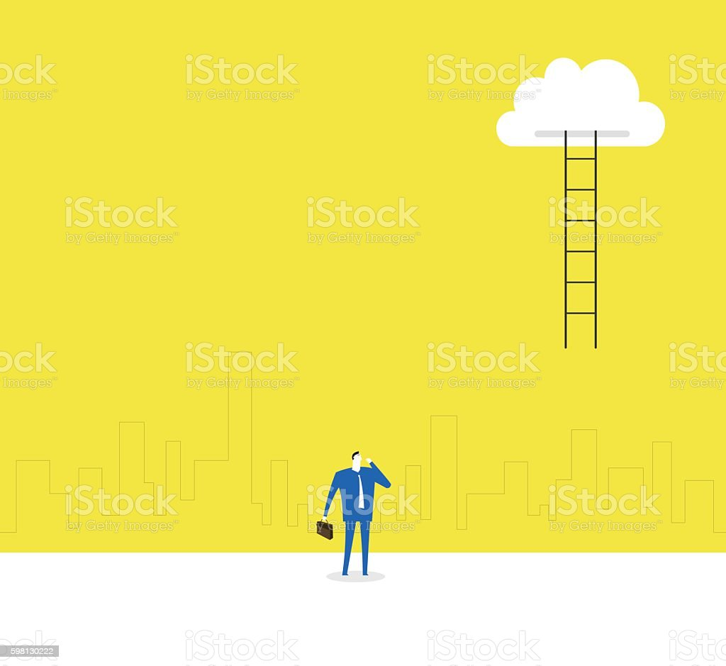 The ladder to cloud vector art illustration