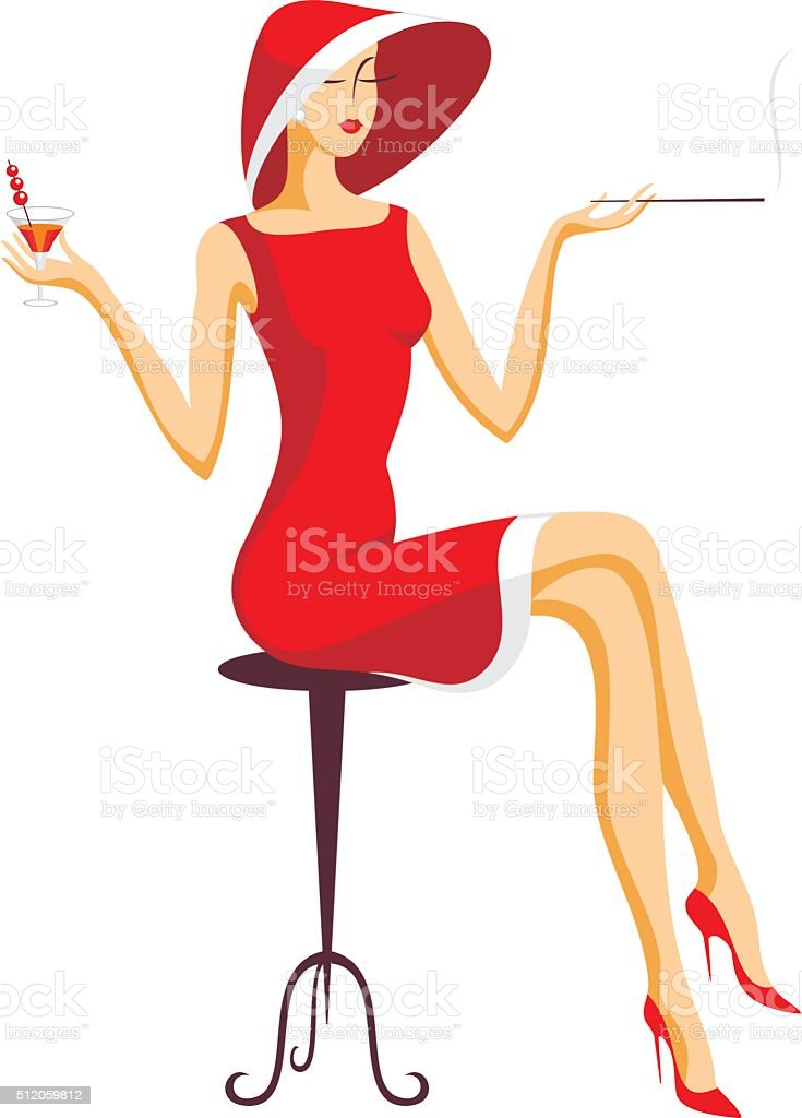 the lady drinks cocktail vector art illustration