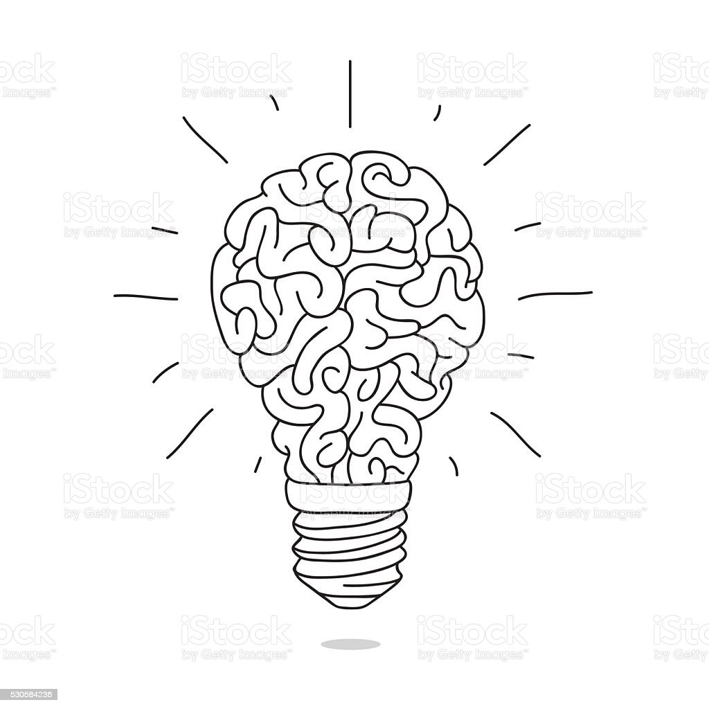 The lamp in the form of the brain vector art illustration