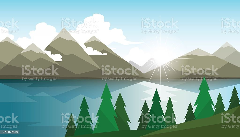 The landscape of forests, mountains and lake vector art illustration